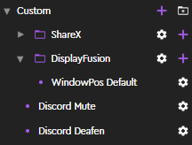 Screenshot of custom actions and groups